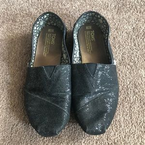 Black sparkle Toms!
